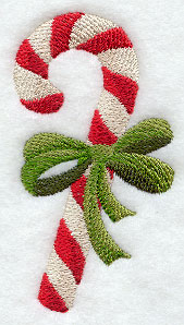 Candy cane and ribbon machine embroidery design.