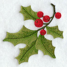 Christmas holly machine embroidery design.