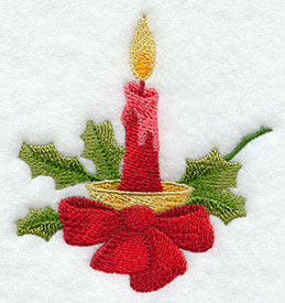 Christmas candle machine embroidery design.