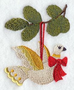 A dove Christmas ornament machine embroidery design.