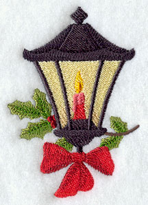 A vintage Christmas lamp machine embroidery design.