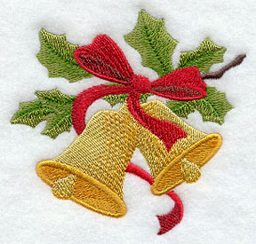 Vintage Christmas bells and holly machine embroidery design.