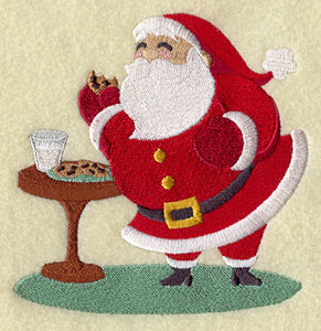 Santa Claus with cookies and milk machine embroidery design.