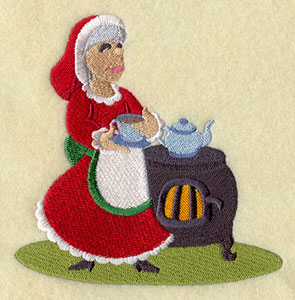 Mrs. Claus and a cup of tea machine embroidery design.
