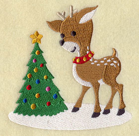 Reindeer and Christmas tree machine embroidery design.