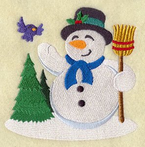 A Christmas snowman machine embroidery design.