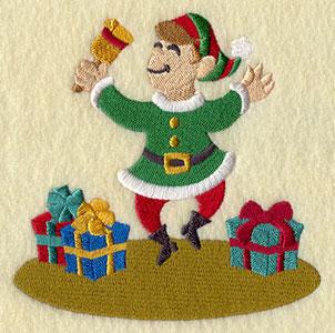 A Christmas elf machine embroidery design.