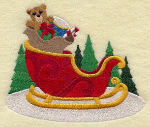 Santa's sleigh machine embroidery design.