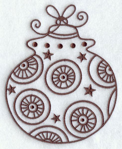 Vintage Christmas ornament machine embroidery design.