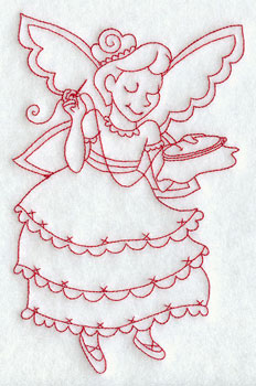 Christmas fairy sewing redwork machine embroidery design.