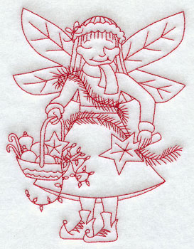 Christmas fairy trimming the tree redwork machine embroidery design.