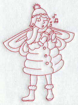 Christmas fairy caroling redwork machine embroidery design.