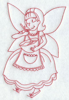 Christmas fairy baking redwork machine embroidery design.