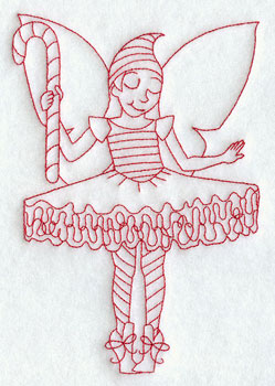 Christmas fairy dancing redwork machine embroidery design.