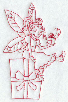 Christmas fairy with gifts redwork machine embroidery design.