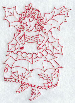 Christmas fairy redwork machine embroidery design.