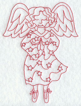 Christmas fairy praying redwork machine embroidery design.
