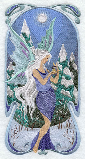 Art Nouveau winter fairy machine embroidery design.