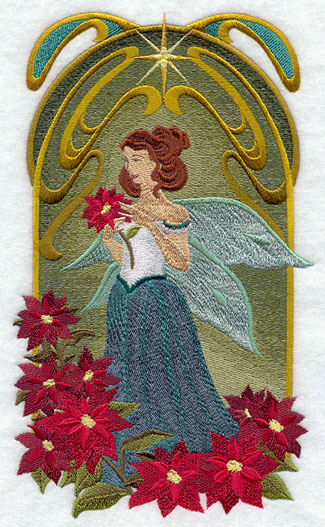 Art Nouveau Christmas fairy machine embroidery design.