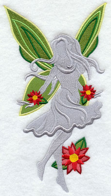 Christmas fairy silhouette with poinsettia machine embroidery design.