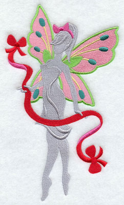 Christmas fairy silhouette with ribbon machine embroidery design.