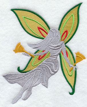 Christmas fairy silhouette with handbells machine embroidery design.