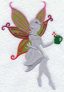 Christmas fairy silhouette with hot chocolate machine embroidery design.