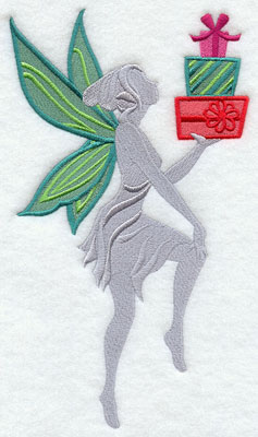 Christmas fairy silhouette with presents machine embroidery design.