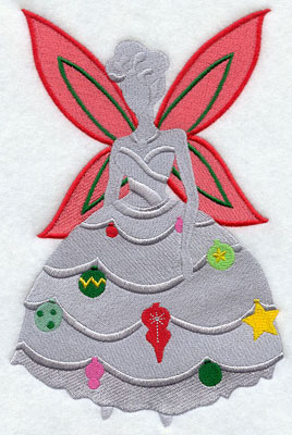 Christmas fairy silhouette with ornaments machine embroidery design.