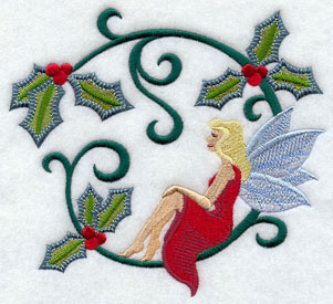 Jacobean Christmas fairy with holly machine embroidery design.