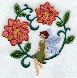 Jacobean Christmas fairy with poinsettias machine embroidery design.