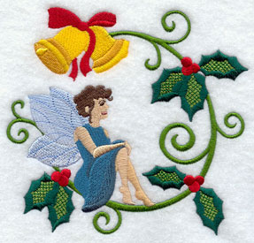 Jacobean Christmas fairy with holly and bells machine embroidery design.