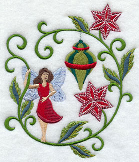 Jacobean Christmas fairy with poinsettias and ornament machine embroidery design.