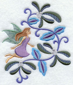 Jacobean Christmas fairy with mistletoe machine embroidery design.
