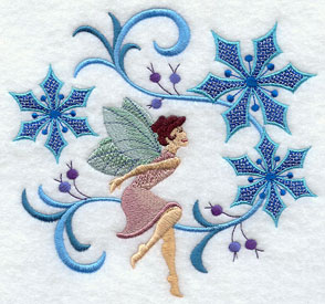 Jacobean Christmas fairy with flowers machine embroidery design.
