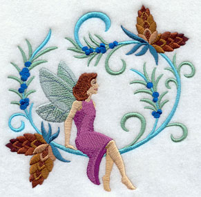 Jacobean Christmas fairy with pine cones machine embroidery design.