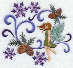 Jacobean Christmas fairy with snowflakes and pine cones machine embroidery design.