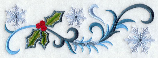 Jacobean Christmas border with snowflakes and holly machine embroidery design.