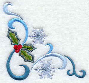 Jacobean Christmas corner with snowflakes and holly machine embroidery design.