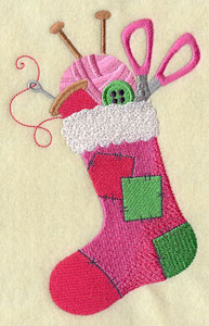 Patchwork Christmas stocking with sewing supplies machine embroidery design.