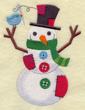 A crafty patchwork snowman machine embroidery design.
