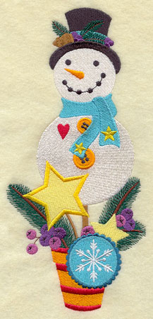 A his and hers snowman topiary machine embroidery design.