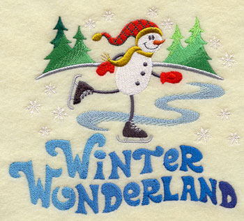 The words 'winter wonderland' with a snowman on ice skates machine embroidery design.