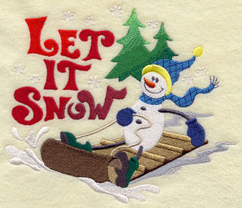 The words 'Let it snow' and a snowman on a sled machine embroidery design.