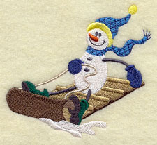 A sledding snowman machine embroidery design.