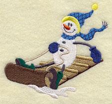 A sledding snowman machine embroidery design.