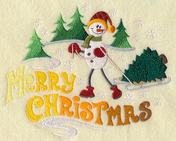 "A snowman takes home a Christmas tree and wishes a ""Merry Christmas"" machine embroidery design."