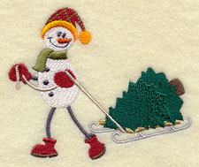 A snowman takes home a Christmas tree on a sled machine embroidery design.