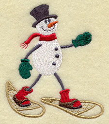A snowman on snowshoes machine embroidery design.