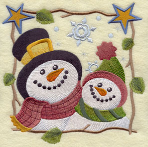 Country-style snowman couple square machine embroidery design.